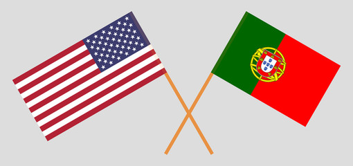 USA and Portugal. The United States of America and Portuguese flags. Official colors. Correct proportion. Vector