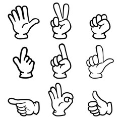 Palm pose collection of analog touch, black line   Hand cut illustration set   Line drawing · Vector data