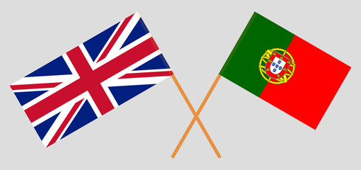 Portugal and UK. The Portuguese and British flags. Official colors. Correct proportion. Vector