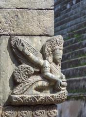 Detail of stone carving at Pashupatinath Hindu temple complex, Kathmandu, Nepal
