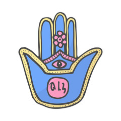Hand of Miriam, color doodle hamsa hand divine symbol of protection from evil eye, hand drawn color illustration.