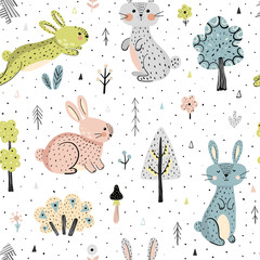 Seamless pattern with bunnies in the forest. Childish background in modern scandinavian style. Vector illustration