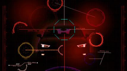 HUD futuristic blue user interface , dashboard display virtual reality technology screen, target.