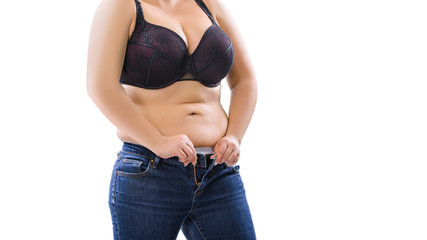 grosse übergewichtige frau passt in die hosen