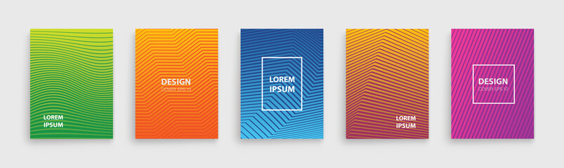 Minimal set covers design. Halftone gradients. Future Poster template EPS 10 - stock vector.