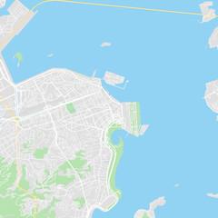 Downtown vector map of Rio de Janeiro, Brazil
