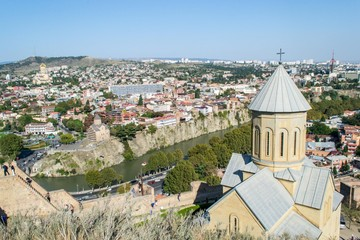panoramic view of old town Tbilisi