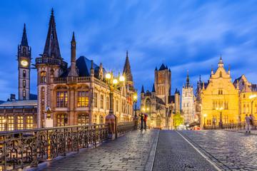Ghent, Belgium. The Sint-Michielsbrug bridge, medieval mansions, St Nicholas Church and Belfort van Gent (Belfry)
