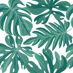Tropcal palm leaves seamless pattern. Beautiful floral backgroun