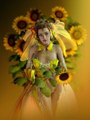Sunflower Maid, 3d CG