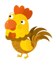cartoon scene with rooster on white background - illustration for children