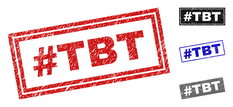 Grunge #TBT rectangle stamp seals isolated on a white background. Rectangular seals with grunge texture in red, blue, black and grey colors. Vector rubber overlay of #TBT tag inside rectangle frames.