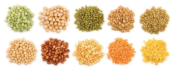 Fototapeta mix legumes isolated on white background. Top view. Flat lay obraz