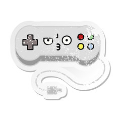 distressed sticker of a cute cartoon game controller