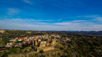 Extremadura.Aerial view in Belvis de Monroy. Caceres. Spain. Drone Photo