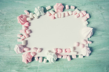 frame made of sweet marshmallow and candies