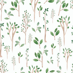 Watercolor Hand sketched green seamless pattern .Hand painted trees leaves,branches,petal decor element.For background,backdrop,fabric,wallpaper,texture.Nature,organic,bio,ecology.
