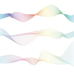 Set of Waves from many colored lines. Abstract wavy stripes isolated on white background. Creative line art. Trendy colourful blend.