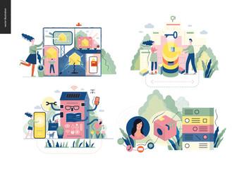 Technology 1 set - modern flat vector concept digital illustration- Marketing Promotion, Solution, Intelligent building, CRM Customer Relationship Management. Creative landing web page design template