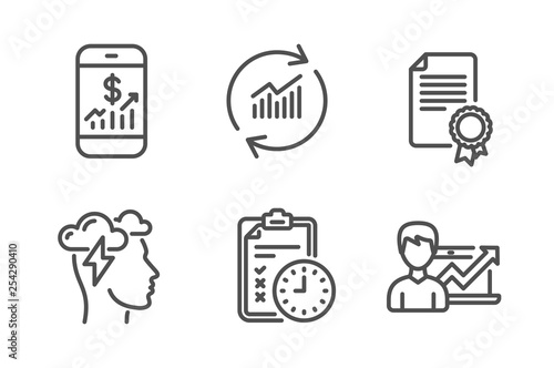 Update data, Mobile finance and Mindfulness stress icons