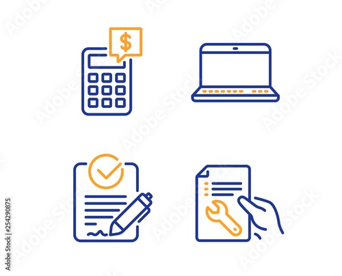 Rfp, Notebook and Calculator icons simple set  Repair document sign