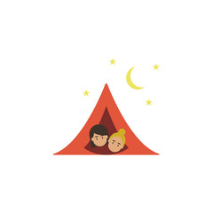 Camping, tourists cartoon icon. Element of color travel icon. Premium quality graphic design icon. Signs and symbols collection icon for websites, web design, mobile app