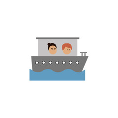 Cruise, man, woman cartoon icon. Element of color travel icon. Premium quality graphic design icon. Signs and symbols collection icon for websites, web design, mobile app