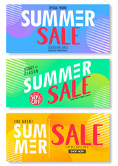 Summer Sale 50% Off on Abstract Colorful Bright Vivid  Background, Fresh Stylish Decorative Patterned Vertical Pull Up Banner Set Vector Design Template. For Promotional Purposes