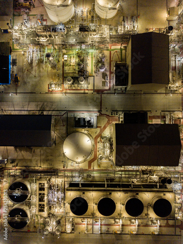 Aerial photographs of oil refineries plants, gas tank, oil