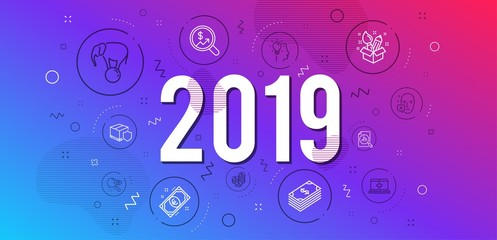 Infographic concept. Creativity, Dollar and Analytics graph icons simple set. Euro money, Currency audit and Elephant on ball signs. Search, Idea and Face declined symbols. 2019 year. Vector