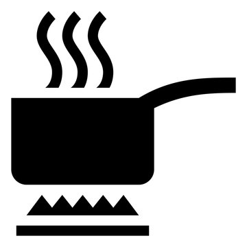 Boiling Pot With Steam Vector Icon