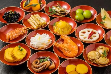 代表的な日本料理 折詰 Japanese food set(osechi)