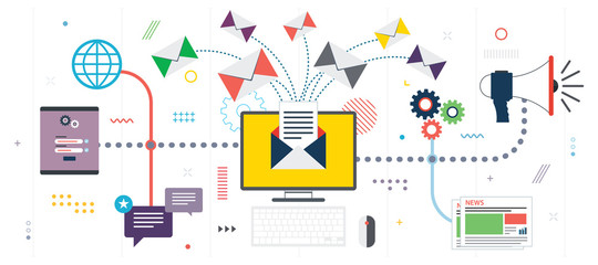 Business communication and email marketing. Send or receive email, digital marketing, analytics and strategy. Template in flat design for web banner or infographic in vector illustration.