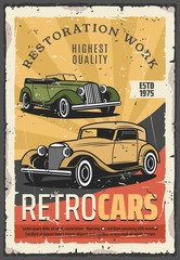 Cars retro show, old rare vehicles exhibition