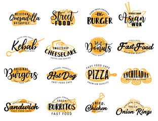 Street fast food and snack icons, lettering