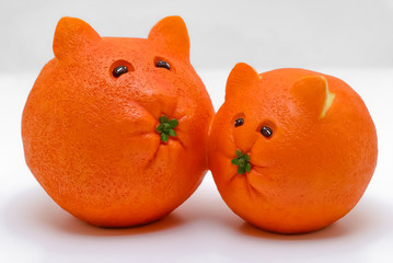 Cats Carved from Oranges