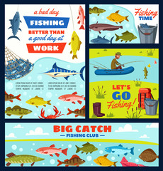 Fisherman and fishery items, fish and tackles