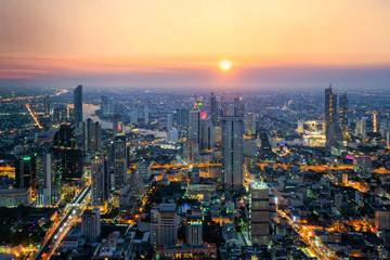 Bangkok city and beautyful twilight Capital of thailand