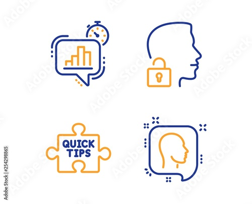 Quick tips, Statistics timer and Unlock system icons simple set