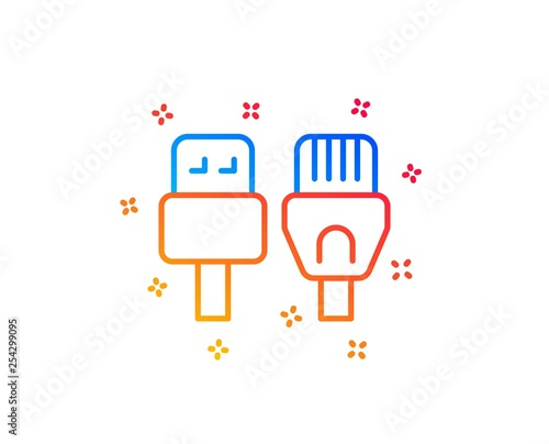 usb, rj45 connection wires  gradient design elements  linear computer  cables icon  random shapes  vector