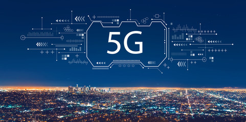 5G network with downtown Los Angeles at night