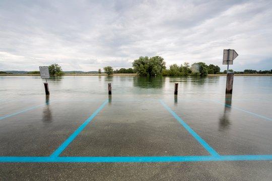 Floods, Gottlieben on Lake Constance, Canton of Thurgau, Switzerland, Europe