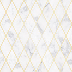 Seamless luxury white marble stone texture, with golden rhombus pattern