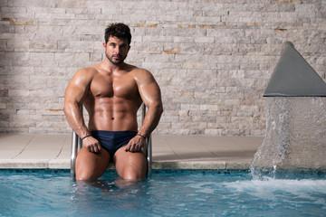 Athlete At Hotel Indoor Pool
