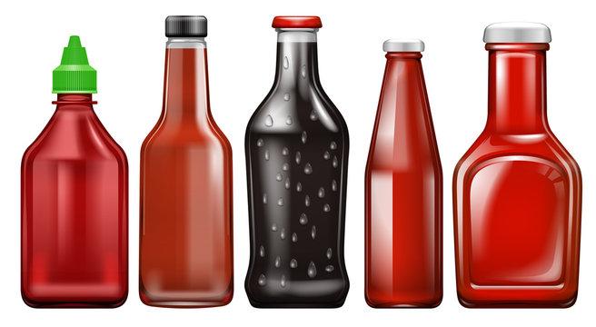Set of different sauce bottle