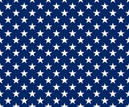 white stars on blue background in usa flag colors, seamless stock vector illustration clip art background
