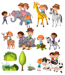 Set of kids with animal
