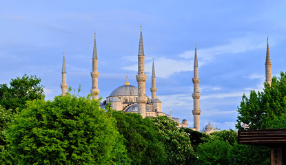 Minarets of the mosque. Ottoman architecture Istanbul, Turkey.
