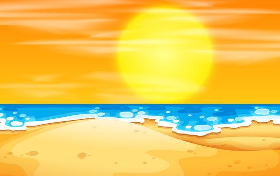 A beach sunset scene