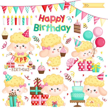 A Vector Set of Various Cute Sheep Celebrating Birthday with Cakes and Many Gifts